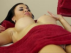 Attractive mom with swollen boobies massage delights