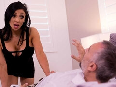 Excited big-boobed pornstar Audrey Bitoni bangs with a doctor