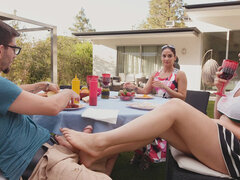 Back yard outdoor standing fuck for a hot slut with sexy feet