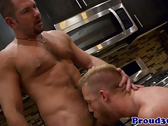 Hunky gay couple fucking in the kitchen