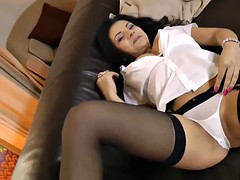 Naughty euroslut in stockings auditions with great pov bj