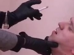 Four russian mistress ballbusting an ashtray slave