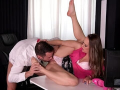3D Foot Fuck: Blonde Enjoys Foot Licking in Office