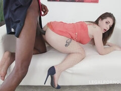 Hot babe Anastasia Rose worships huge black dick