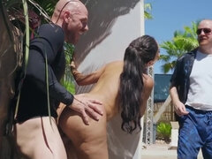 The big bald bloke is going hard on her hungry Latino pussy