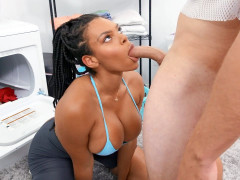 Busty Halle Hayes is sucking Van Wylde's cock