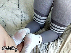 Fit honey Gives Footjob For ginormous Creampie in Her Ripped leggings