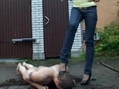 Slave cleaning dirty heels & getting humiliated in a mud bath outdoors