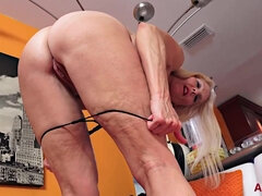 Old ugly blonde grandma Cherry Leigh rubbing cunt solo