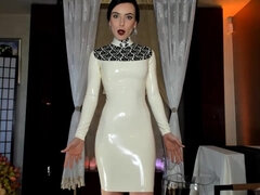 Horny Lady in White Latex Dress Tease you cock