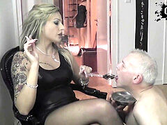 femdom domme used clamp for human ashtrays