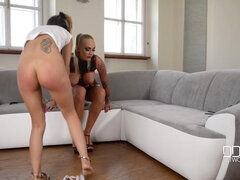 Hungarian Dominatrix Spanking and Flogging Russian Submissive