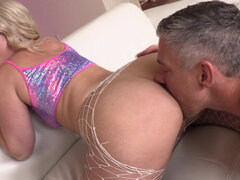 Mick Blue ripped fishnet on a massive ass Lisey Sweet