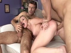 Bodacious blonde gets ravaged by two big dicks