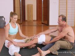 Yoga coach bangs two blonde students after class