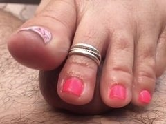 Wife's Pink Outside Footjob