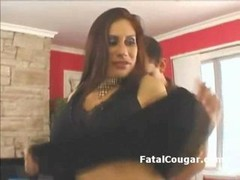 Sexy thick booty cougar with large breasts takes off her clothes and besides besides sucks studs large cock He licks her jugs and besides besides rubs