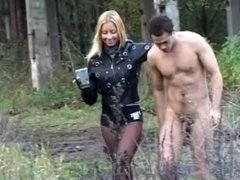 Russian mistress riding & spanking pony slave outdoors