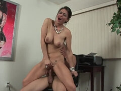 The MILF is getting her hairless snatch licked and fucked
