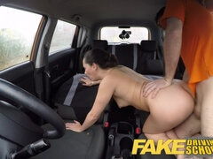 Gentle brunette surrenders to a sex-hungry teacher in car