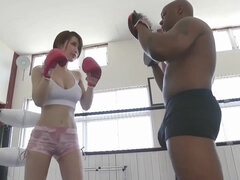 Perky titted japanese girl screwed by her muscled black boxing coach