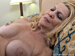 Super sexy slim older lady enjoys a hard fuck and a facial