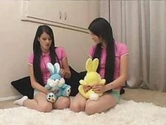 Twins - legal teen Sisters Being Taught By Father & Wife