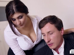 Boss fucks busty German secretary and cums on her big tits