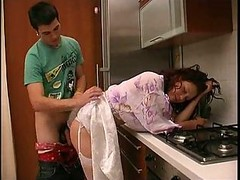 Nice-looking Russian Mother In Stockings Kitchen Fucked..