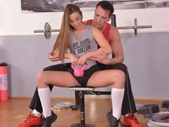 Anal Workout - Brunette College Girl Ass Fucked At The Gym