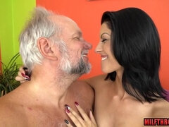 Natural mammaries MILF double fuck with money shot
