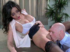 Latina worker brutally stretched by impudent bald boss