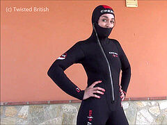 utter Wetsuit tease With hood & Full Snorkel Gear