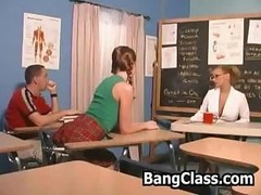 A duo next door students getting seduced and also fucked by their female teacher