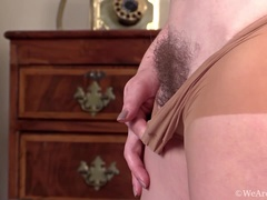 Sofia Matthews strips and plays with stockings