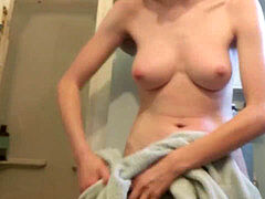 legal sister shaves fur covered PUSSY in shower - Spy cam