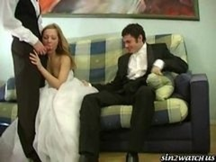 Sexy Bride gets fucked by a duo groomsmen