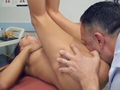 Doctor becomes the first man who shoves cock into girl's pussy