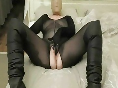Black bodystocking with nylon mask