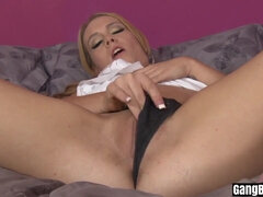 Wet blonde MILF got banged by a group of black thieves
