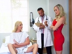 Kinky doctor fucks two magnificent blonde pornstars