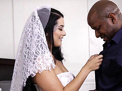 multiracial creampie with bigass bride Katrina Jade and bbc