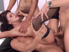 Three big dicks fill the holes of dirty slut Adriana Chechik