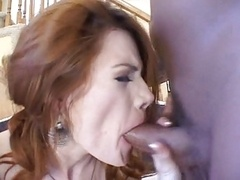 Mad redhead hard DP & swallow