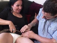 Fabulous couple with nice-looking brunette mature with tattoo