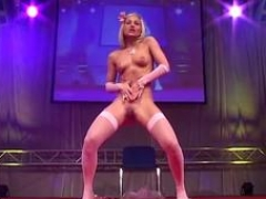 underweight teen doll dancing nude on stage