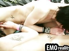 Beautiful emo twinks with long hair pleasure each other