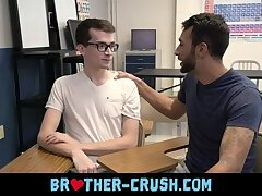 My first gay kiss with older brother in class room