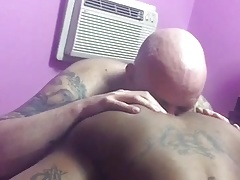 hungry white boy eats black tranny ass