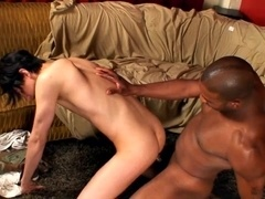 Black bugger drills his horny buddy's white ass in homemade scene